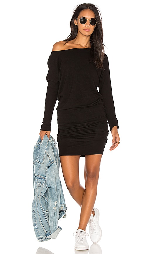 MONROW Blouson Off Shoulder Dress in Black
