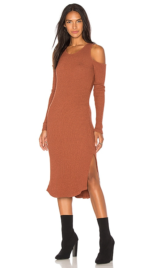 MONROW Cold Shoulder Dress in Rust