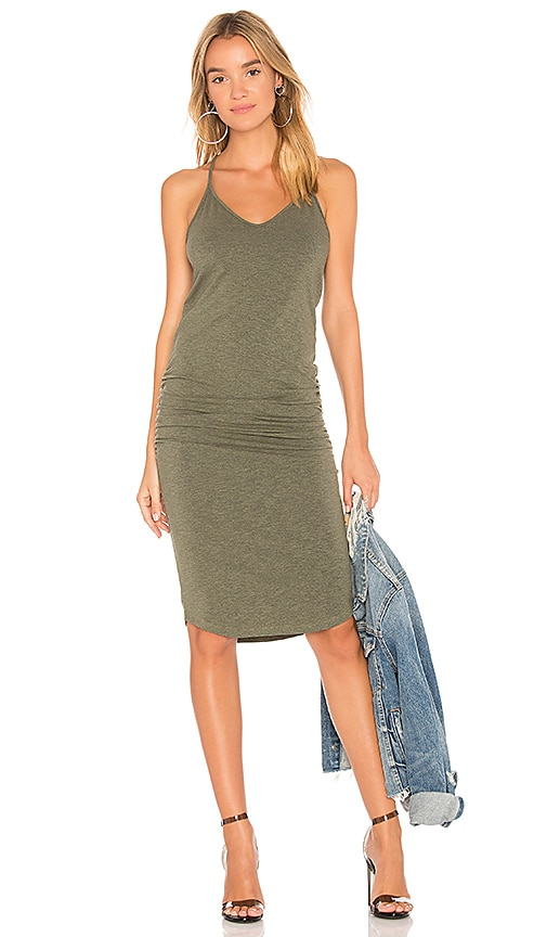 MONROW V Neck Racer Back Dress in Green