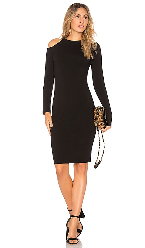 MONROW Cut Out Shoulder Dress in Black