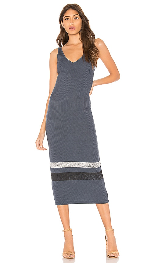 MONROW Striped Tank Dress in Blue