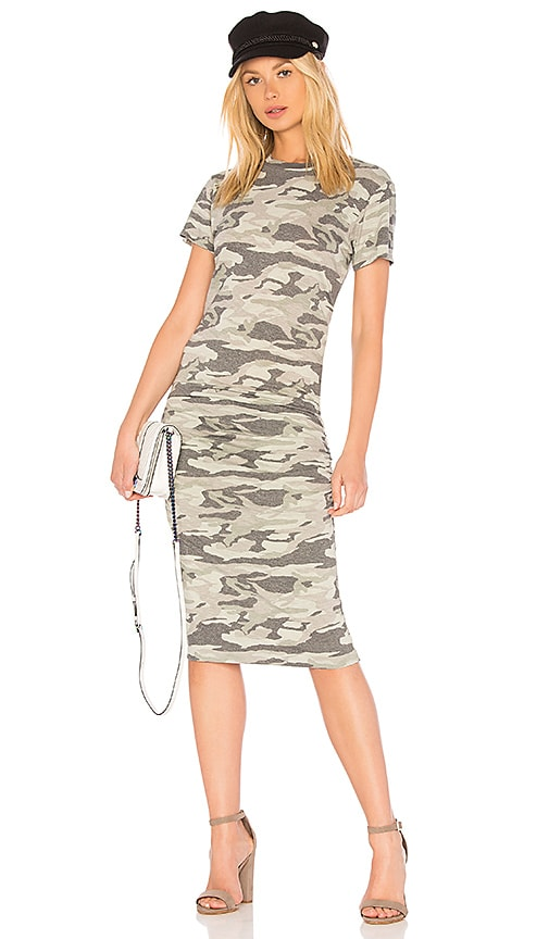 MONROW Camo Crew Neck Shirred Dress in Army