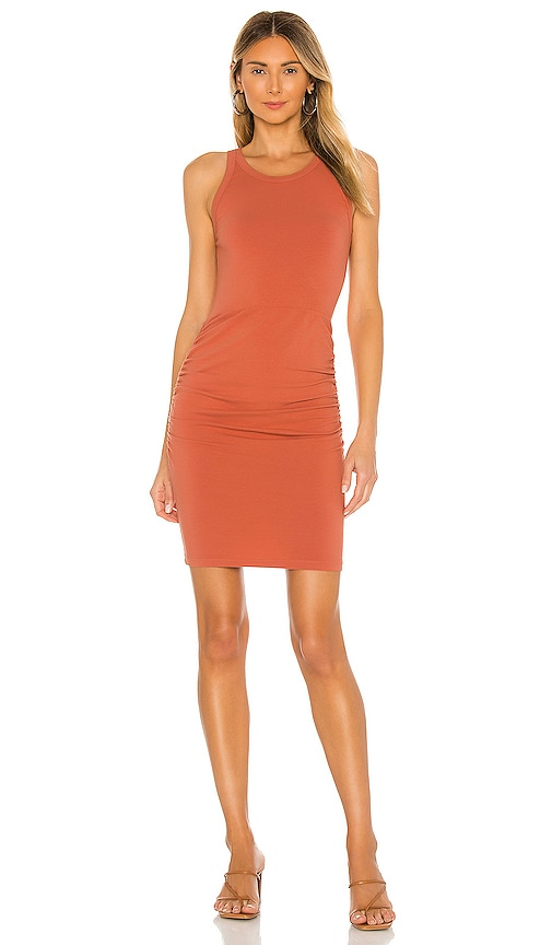 MONROW Narrow Tank Shirred Dress in Spice | REVOLVE