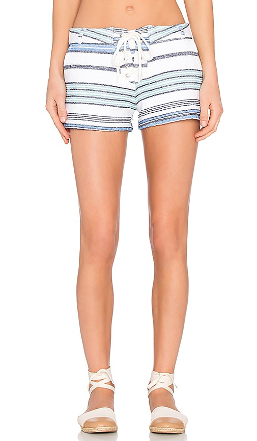 MONROW Burlap Stripe Lace Up Short in White