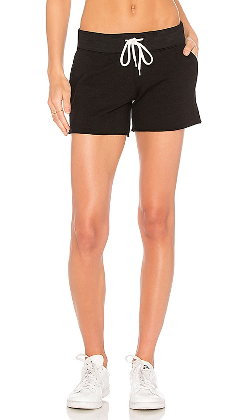 MONROW Cut Off Pocket Shorts in Black