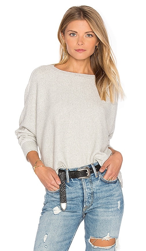 MONROW Asymmetric Dolman Sweater in Light Gray