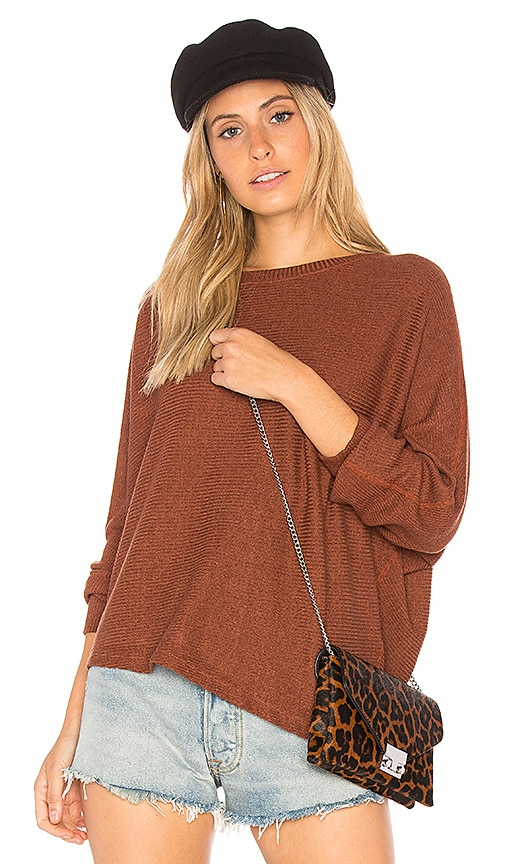 MONROW Asymmetric Dolman Sweater in Brown