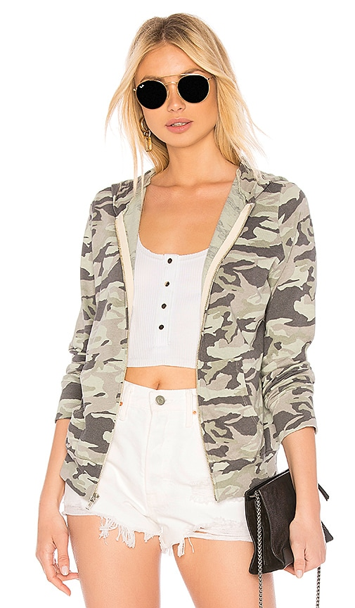 MONROW Camo Zip Up Hoodie in Army