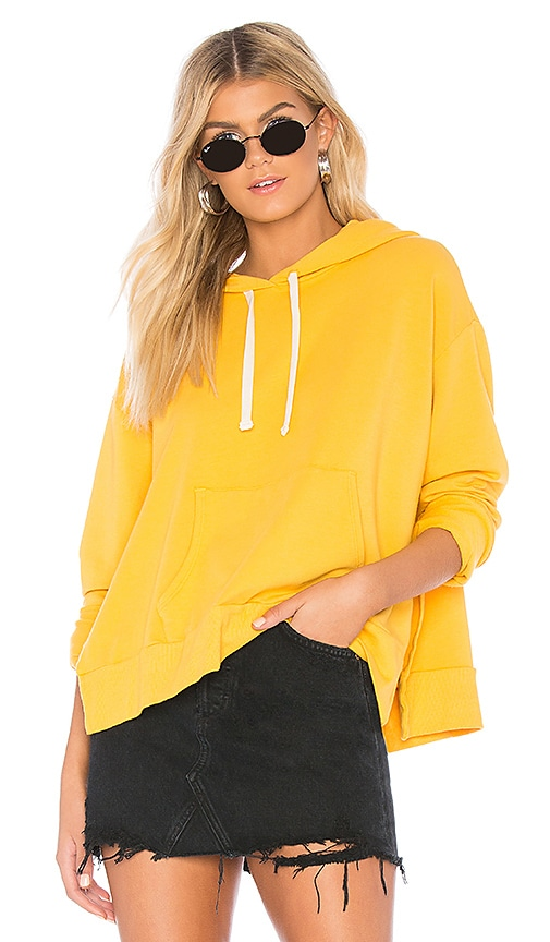 MONROW Side Slit Hoodie in Yellow