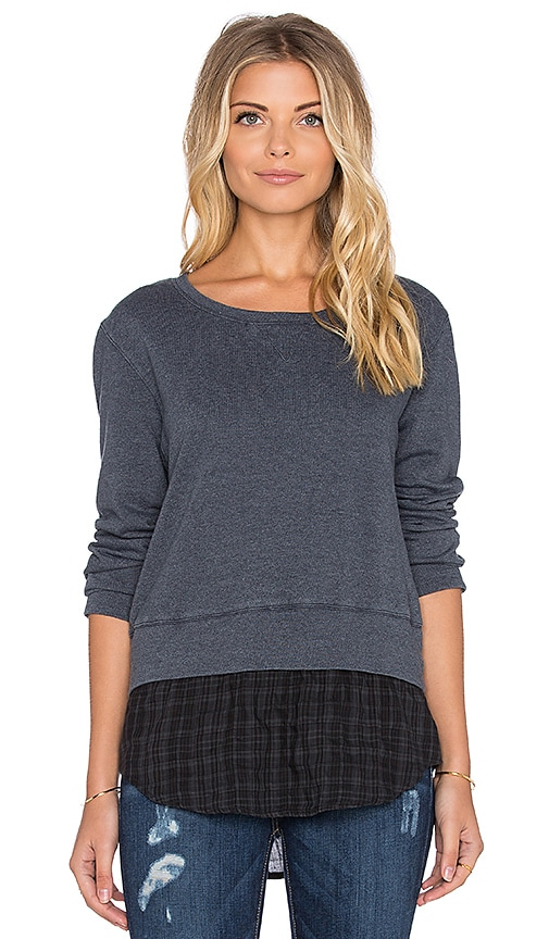 MONROW French Plaid Double Layer Sweatshirt in Blue Clay