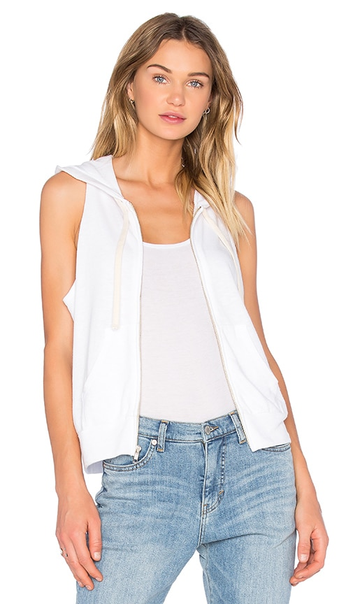MONROW Sleeveless Hoodie in White