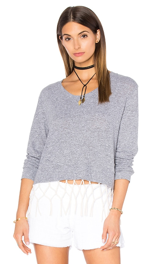 MONROW Macrame Sweatshirt in Gray