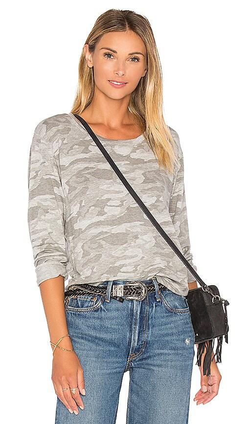 MONROW Neutral Camo Crewneck Sweatshirt in Gray