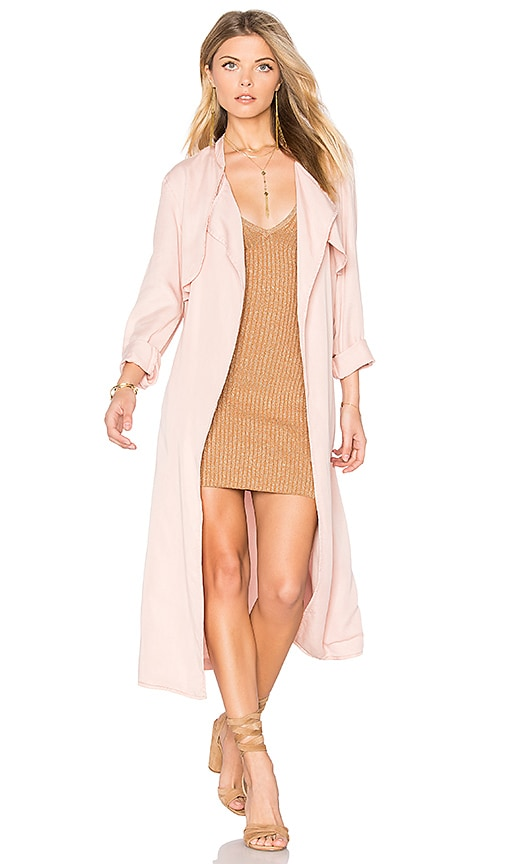 MONROW Long Trench Coat in Pink