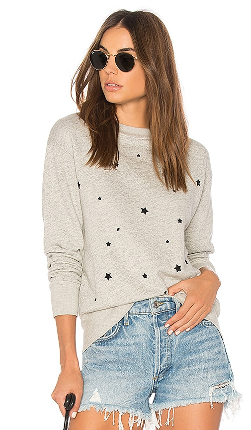 MONROW Cozy Stardust Flocking Sweatshirt in Gray