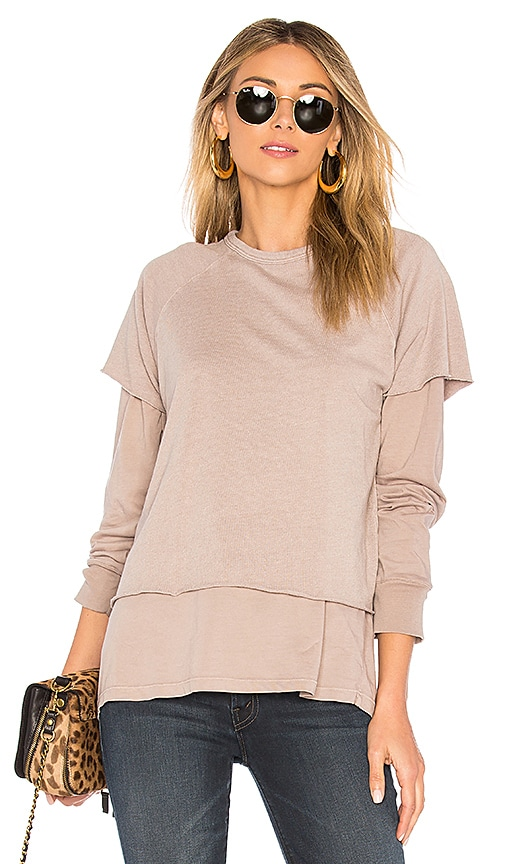 MONROW Double Layer Sweatshirt in Beige