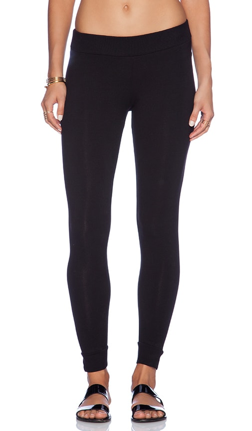 67f085e384 MONROW Heavy Stretch Cotton Yoga Leggings in Black | REVOLVE