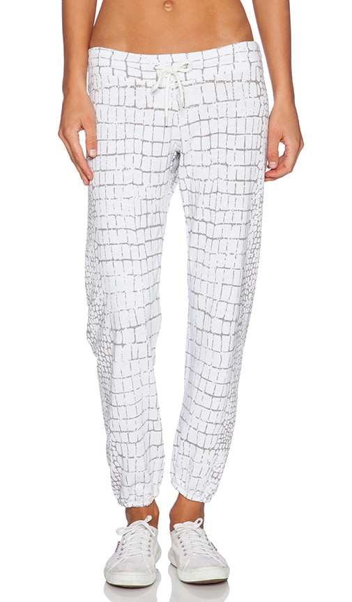 MONROW Oversized Crocodile Print Vintage Sweatpant in White