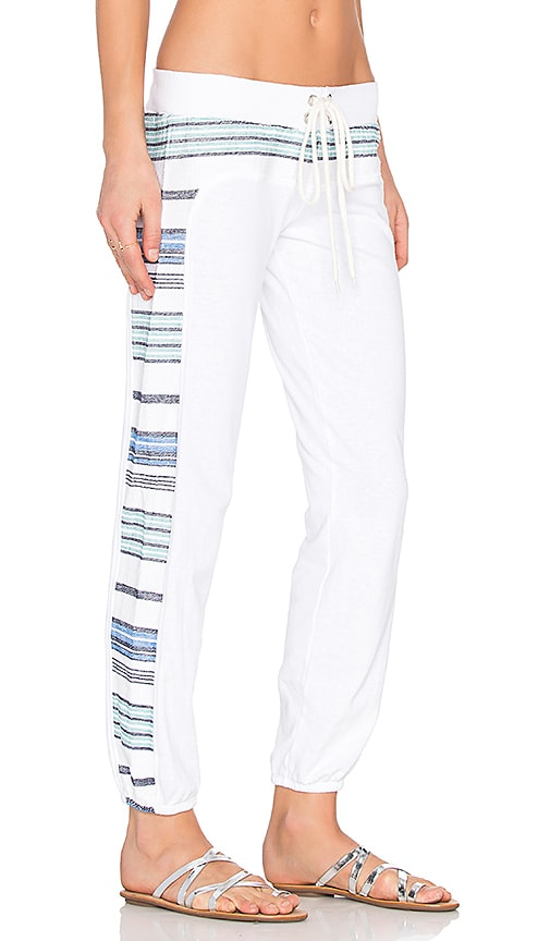 MONROW Burlap Stripe Vintage Sweatpant in White