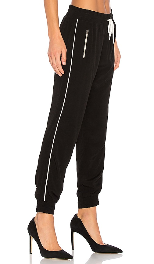 MONROW Elastic Waist Track Pants in Black