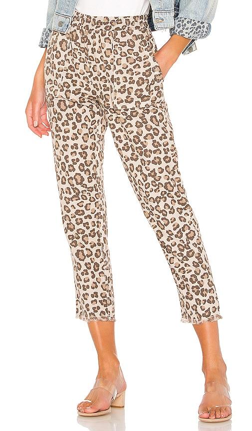 Leopard Fray Patch Pockets Pant