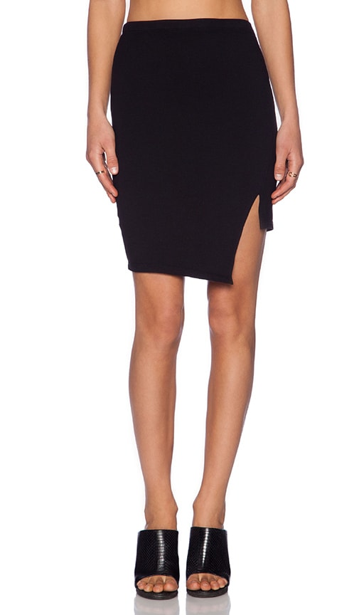 MONROW Desert Wash Asymmetric Skirt in Black