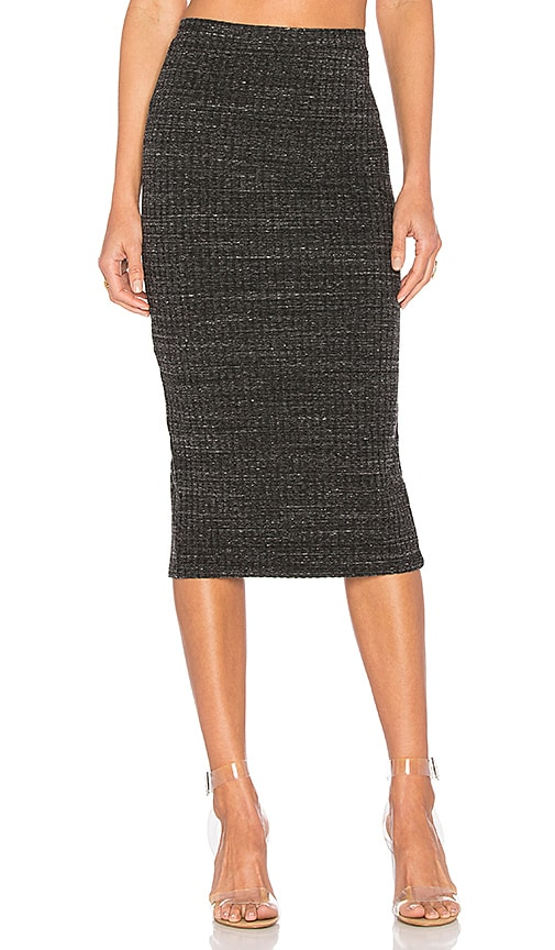 MONROW Rib Pencil Skirt in Gray