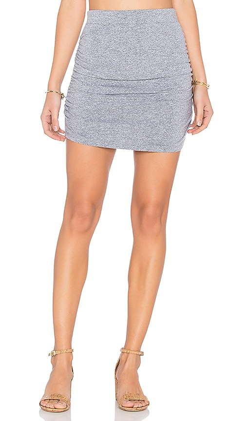 MONROW Shirred Mini Skirt in Gray