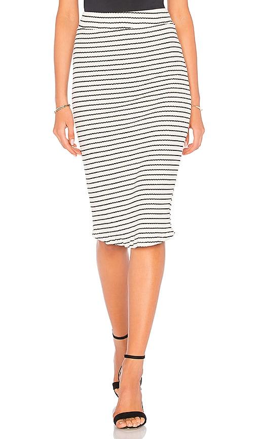 MONROW Stripe Rib Pencil Skirt in Cream