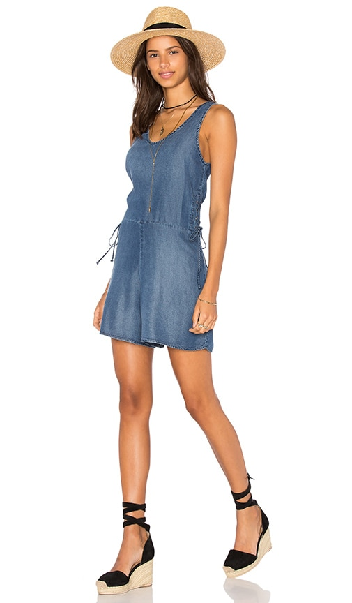 MONROW Lace Up Romper in Blue