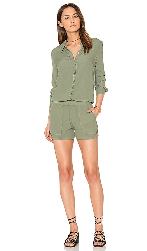 MONROW Button Up Romper in Green