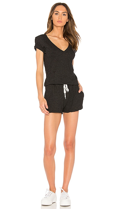 MONROW Double V Romper in Charcoal