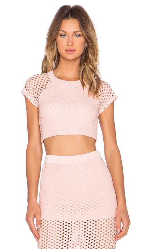 MONROW x REVOLVE EXCLUSIVE Crochet Crop Top in Pale Pink