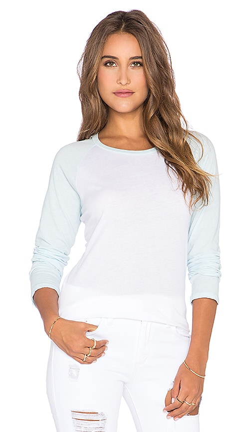 MONROW 70's Athletic Oversized Raglan Tee in Baby Blue