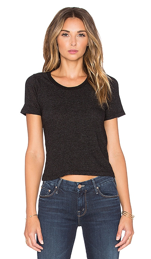 MONROW x REVOLVE Granite Jersey Crop Tee in Black