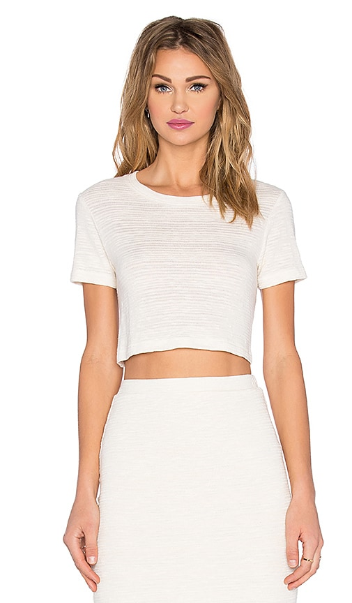 MONROW Cropped Slub Tee in Cream
