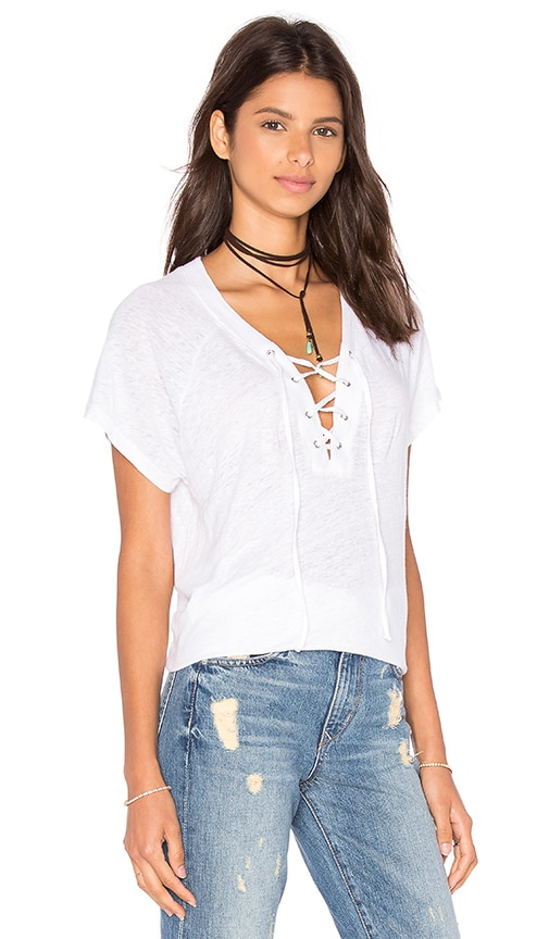 MONROW Lace Up Raglan Tee in White