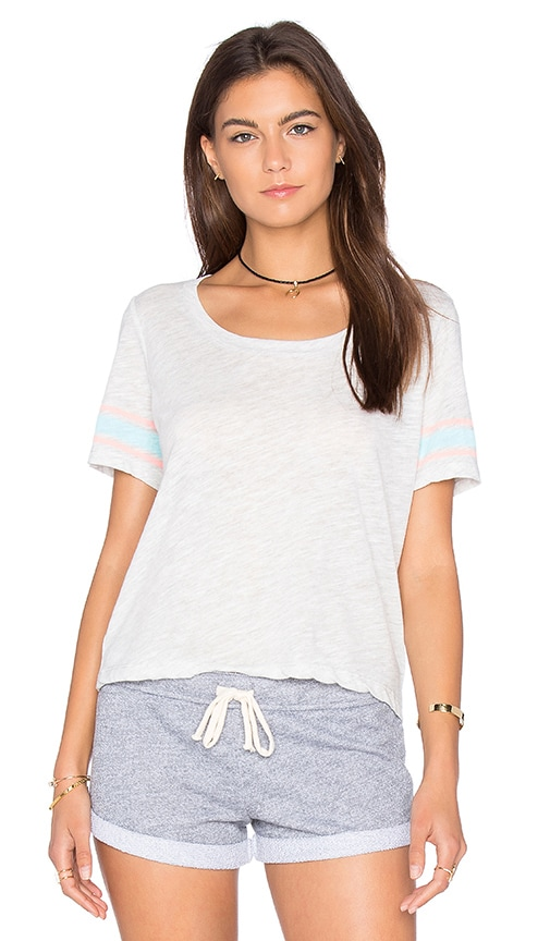 MONROW Athletic Stripe Cropped Tee in Gray