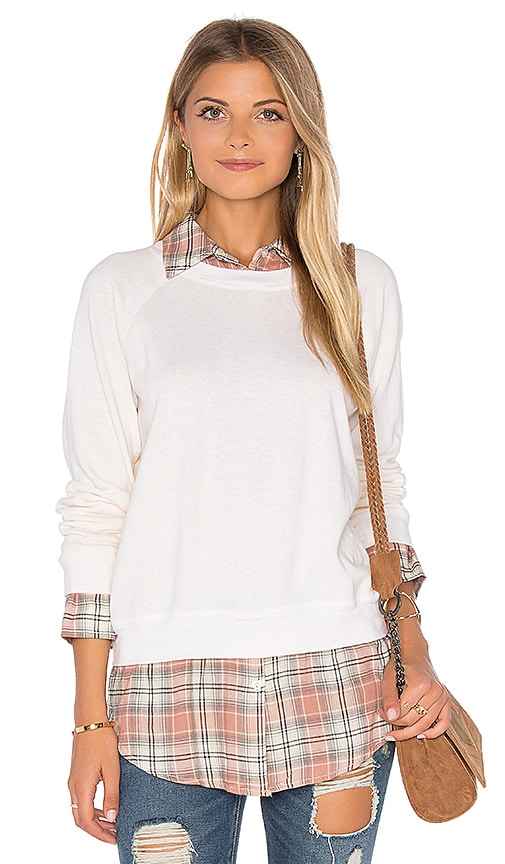 MONROW Plaid Double Layer Sweatshirt in Ivory