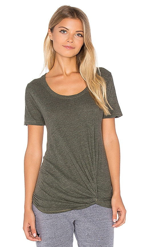 MONROW Asymmetric Knot Tee in Olive