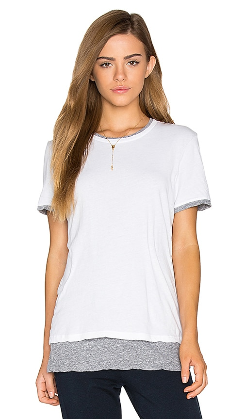 MONROW Double Layer Short Sleeve Tee in White