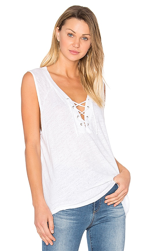 MONROW Lace Up Tank in White