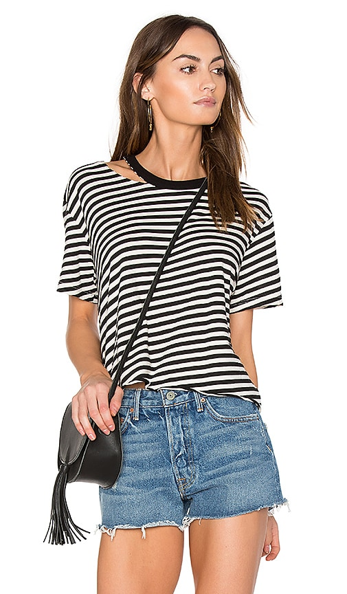 MONROW Slash Stripe Athletic Tee in Cream