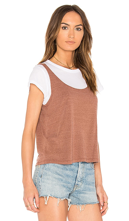 MONROW Rib Tank & Tee Set in Brown