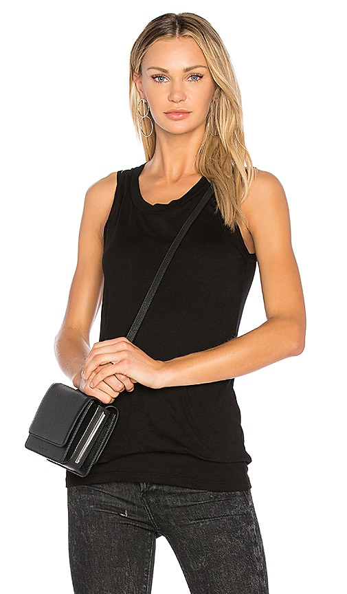 MONROW Sheer Double Layer Tank in Black