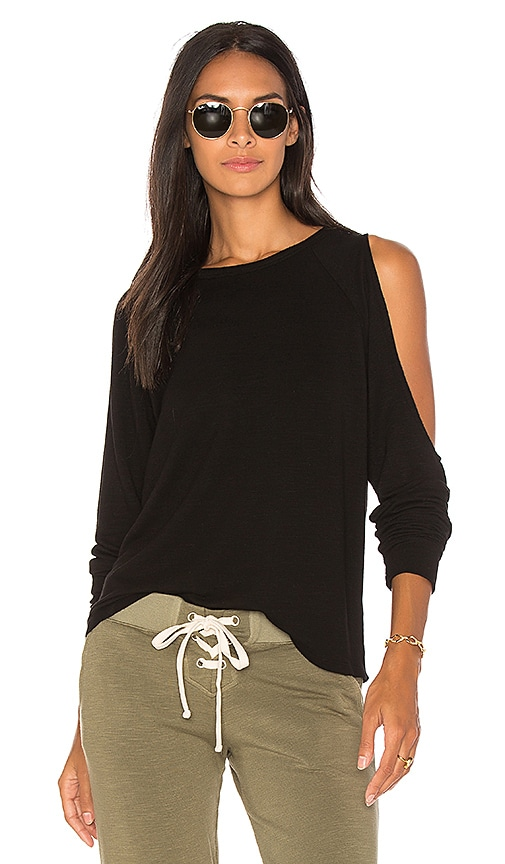 MONROW Asymmetric Slash Top in Black
