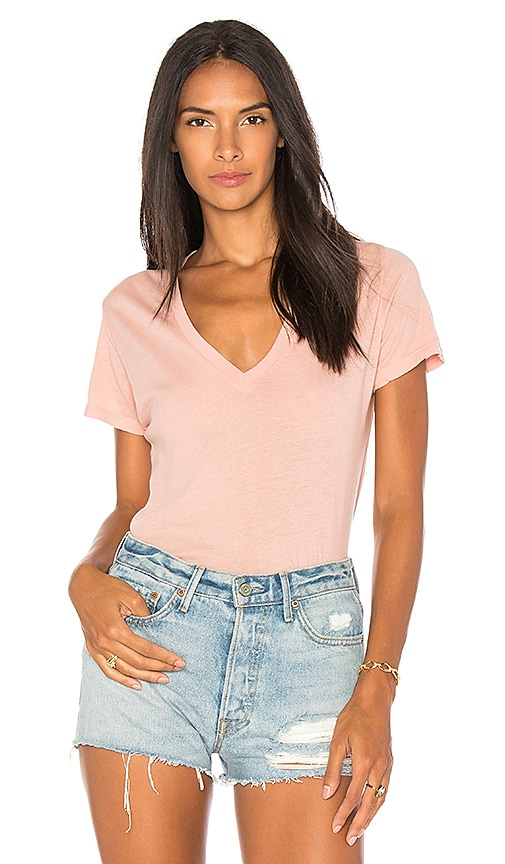 MONROW V-Neck Tee in Pink