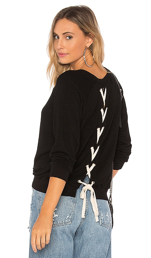 MONROW Athletic Lace Up Sweatshirt in Black