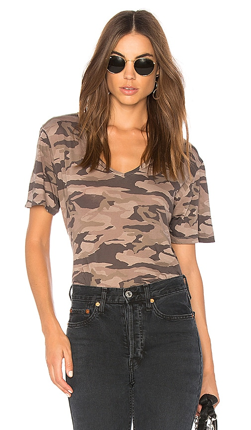 MONROW Camo Oversized Tee in Orange