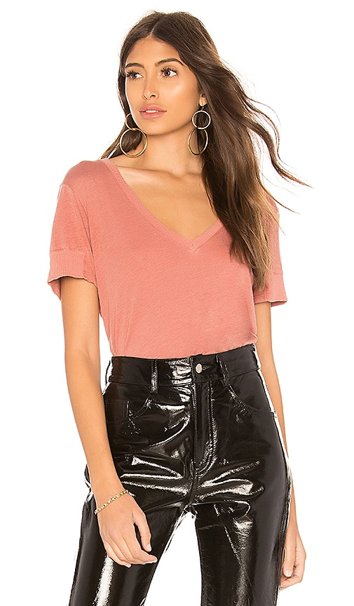 MONROW Rib Sleeve Tee in Rose
